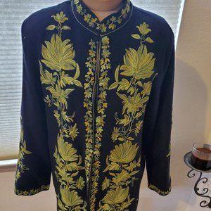 Vintage wool embroidered ethnic jacket (M)
